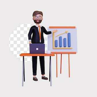 Startup 3d z męskim charakterem i wykresem