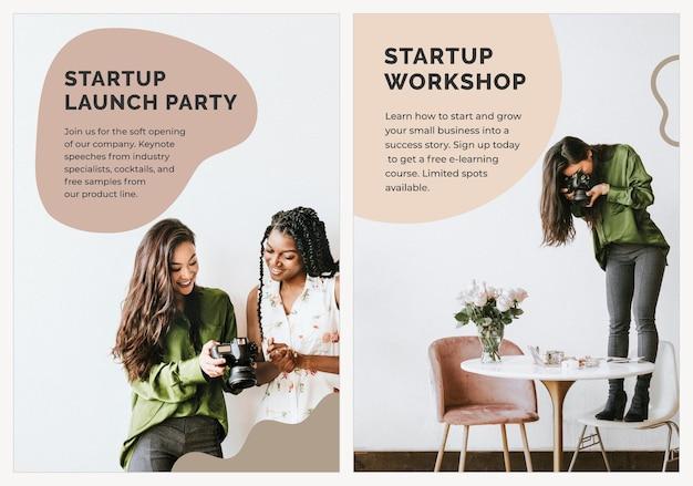 Startup szablon plakatu biznesowego psd do sesji zdjęciowej