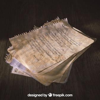 Stary makieta papieru z tekstem