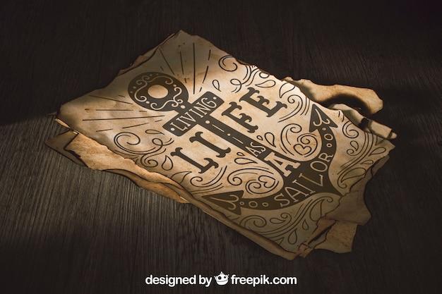 Stary papierowy mockup z żeglowania pojęciem