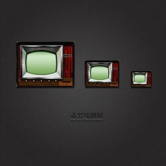 Stary telewizor w trzech rozmiarach