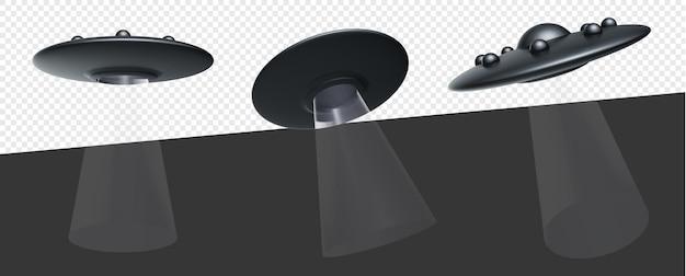 Statek obcych ufo ze światłami na białym tle