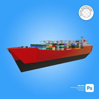 Statek towarowy z przodu wygląda na obiekt 3d