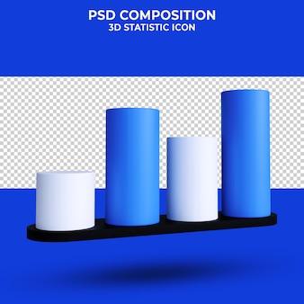 Statystyka biznes ikona wykresu renderowania 3d na białym tle