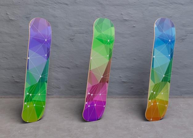 Stojące kolorowe makiety deskorolki