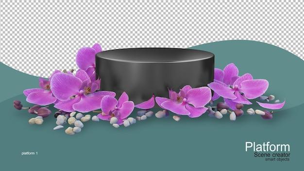 Stojak na produkty z różnymi rodzajami kwiatów