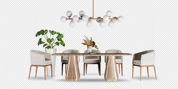 Stół i krzesła z monstera w renderowaniu 3d