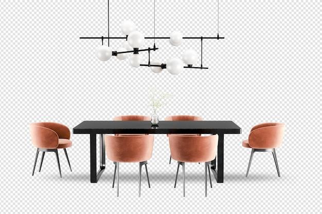 Stół i krzesła z widokiem z przodu w renderowaniu 3d
