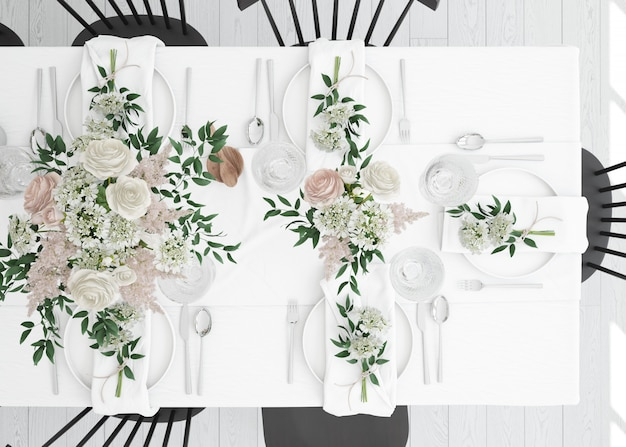 Stół przygotowany do jedzenia ze sztućcami i dekoracją na widok z góry