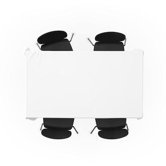 Stół z obrusem i krzesłami