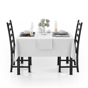 Stół z obrusem, naczyniami i krzesłami