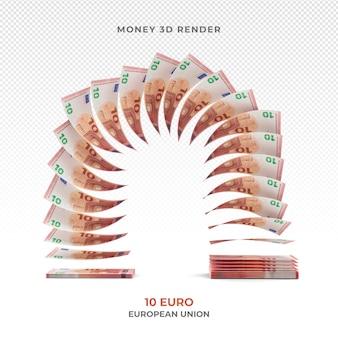 Stos 10 banknotów euro pieniądze renderowania 3d