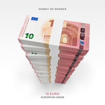 Stos 10 Banknotów Euro Pieniądze Renderowania 3d Premium Psd