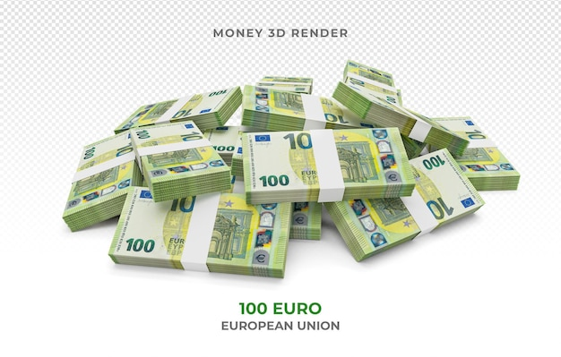 Stos 100 banknotów euro pieniądze renderowania 3d