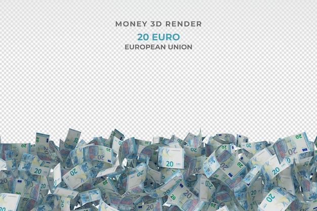 Stos 20 banknotów euro pieniądze renderowania 3d
