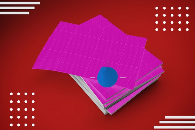 Stos arkuszy papieru do makiety ulotki lub plakatu