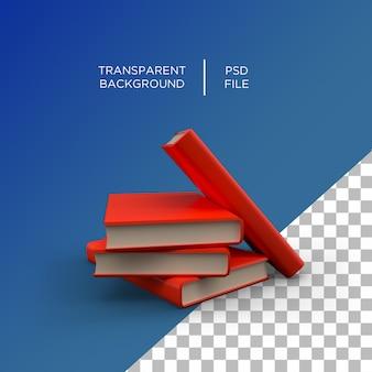 Stos książek w renderowaniu 3d na białym tle