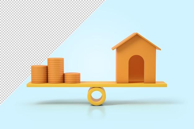 Stos pieniędzy i dom na makieta skali