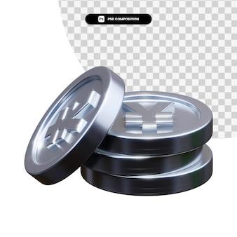 Stos srebrnych monet w renderowaniu 3d na białym tle