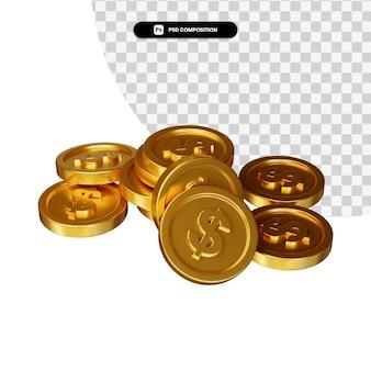 Stos złotej monety dolara w renderowaniu 3d na białym tle