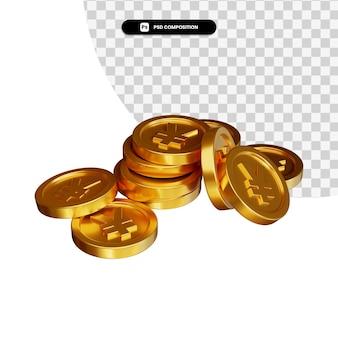 Stos złotej monety jena w renderowaniu 3d na białym tle