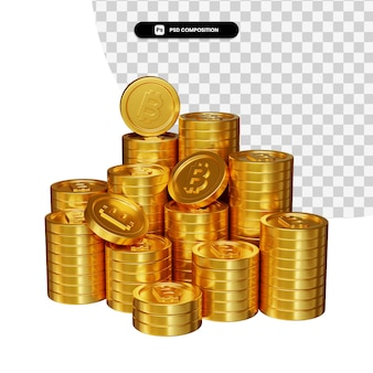 Stos złotych monet bitcoin w renderowaniu 3d na białym tle