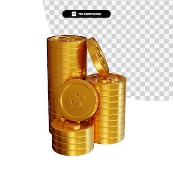 Stos złotych monet dolara w renderowaniu 3d na białym tle