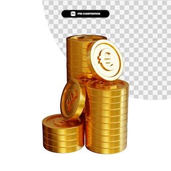 Stos złotych monet euro w renderowaniu 3d na białym tle