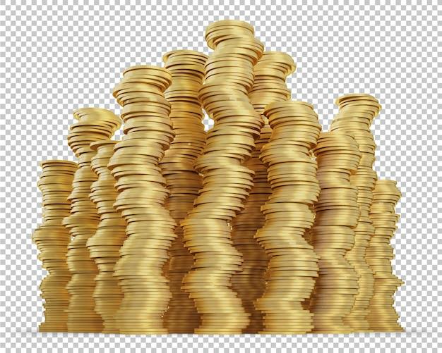 Stos złotych monet na białym tle renderowania 3d
