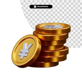 Stos złotych monet w renderowaniu 3d na białym tle
