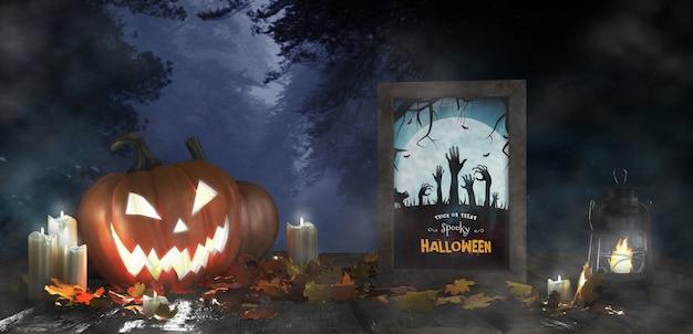 Straszna dekoracja na halloween z oprawionym plakatem z horrorem