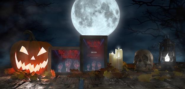 Straszna dekoracja na halloween z oprawionymi plakatami z horroru