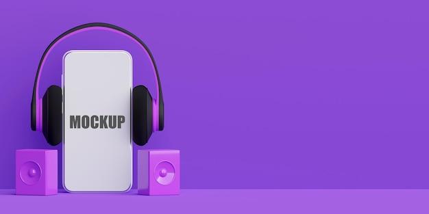 Streaming muzyki na smartfonie z makietą telefonu