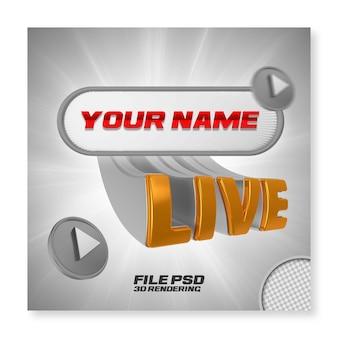Streaming na żywo 3d render złota odznaka na białym tle