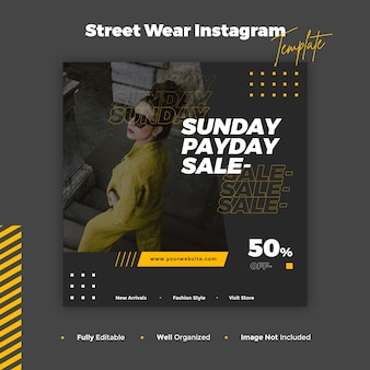 Street wear instagram post and banner template