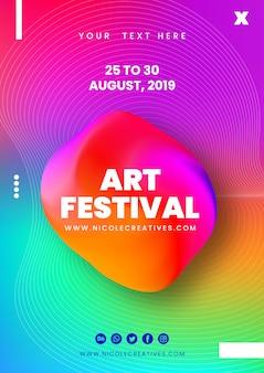 Streszczenie 3d plakat festiwalu sztuki