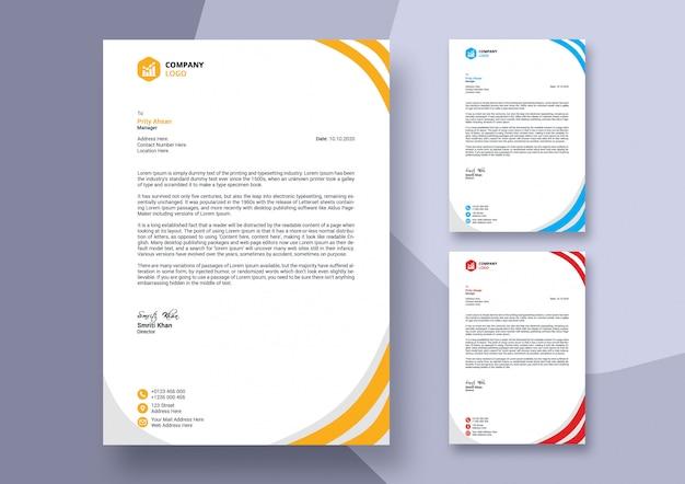 Streszczenie kolorowy biznes papier firmowy szablon projektu