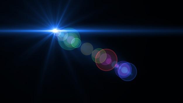 Streszczenie oświetlenia obiektywu cyfrowego flary w ciemnym tle
