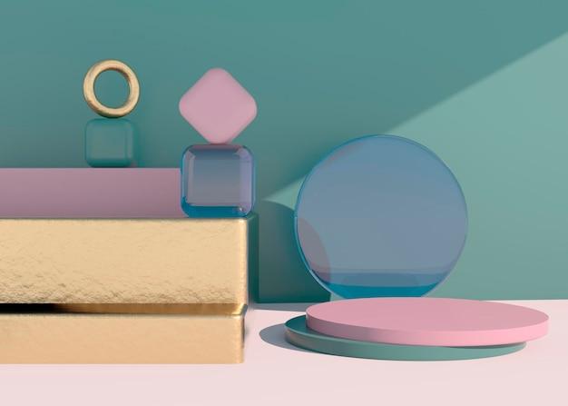 Streszczenie pusty podium z cieniem. makieta stojaka do prezentacji produktu. renderowanie 3d. minimalna koncepcja. wyświetl produkt.