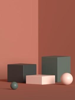 Streszczenie sceny renderowania kształtu geometrii podium