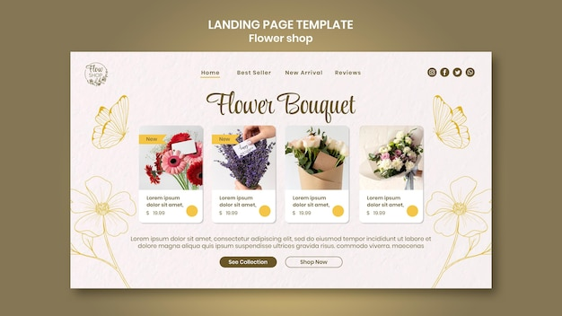 Strona docelowa bukietu kwiatów