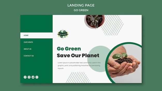 Strona docelowa dla bycia ekologicznym i przyjaznym dla środowiska