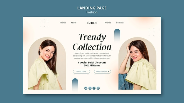 Strona docelowa dla stylu mody i odzieży z kobietą