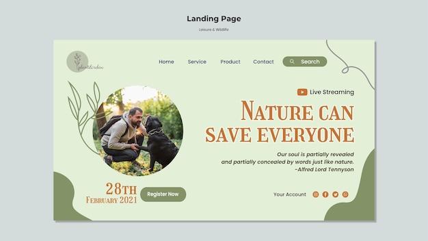 Strona docelowa dotycząca wypoczynku i dzikiej przyrody