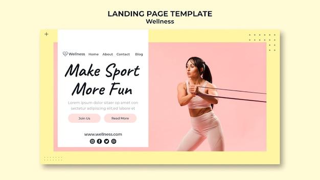Strona docelowa dotycząca zdrowia i dobrego samopoczucia z kobietą uprawiającą fitness