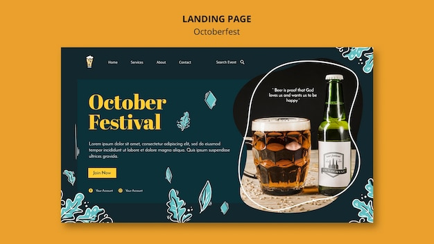 Strona docelowa festiwalu oktoberfest