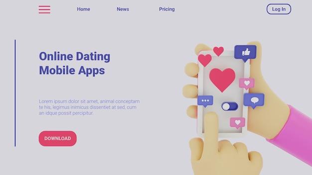 Strona docelowa ilustracja 3d dla serwisów randkowych online aplikacji mobilnych
