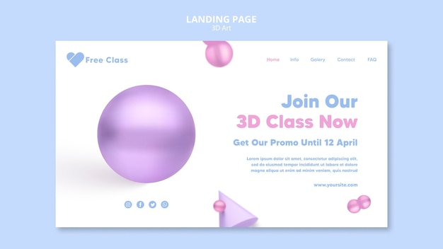 Strona docelowa klasy sztuki 3d