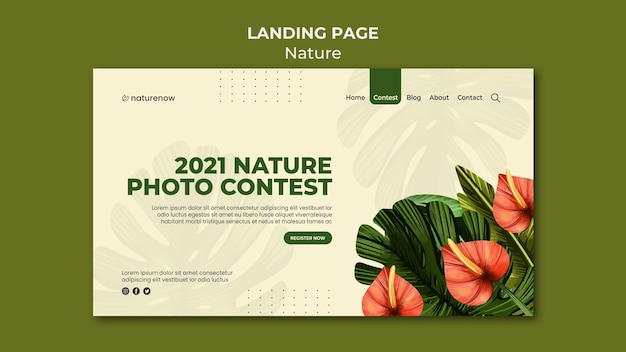 Strona docelowa konkursu fotograficznego przyrody