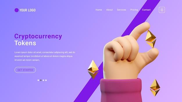 Strona docelowa kryptowalut z trójwymiarowym gestem dłoni i ikonami ethereum